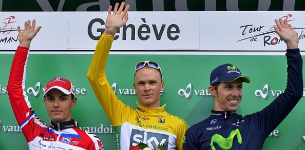Podium final del Tour de Romandia, con Froome, Spilak y Costa (Foto: eurosport.es)