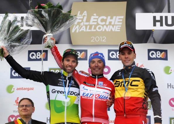 Podium de la pasada edición de la Flèche Wallone (scott-sports.com).