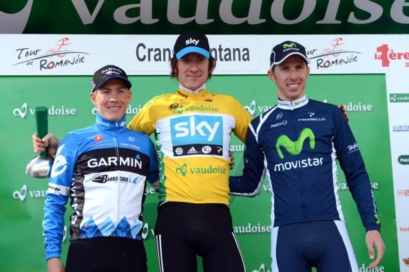 Podium Tour de Romandia 2012 con Wiggins a la cabeza (foto: sykose.com)