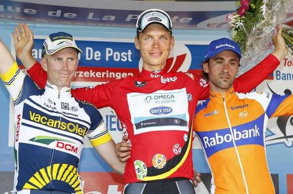 Martin ganó el año pasado su primer Tour de Bélgica. Le acompañaron en el podium Werstra y Barredo. (foto: marca.com)