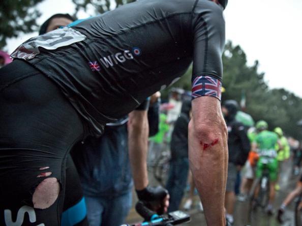 Marcas de la caída de Wiggins en la séptima etapa (foto: Sky)