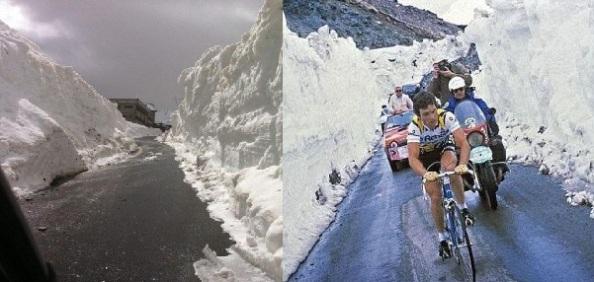Las condiciones actuales del Stelvio a la izquierda y el Stelvio con Hinault en 1980 a la derecha.