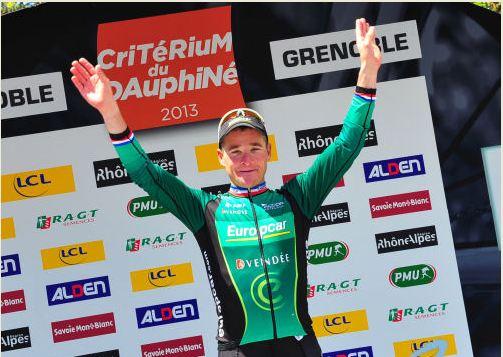 Un Voeckler fulgurante en el podium de Critérium du Dahuphiné (Foto:esciclismo.com)