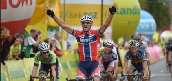 Hushovd celebra la victoria en Polonia (foto:esciclismo.com)