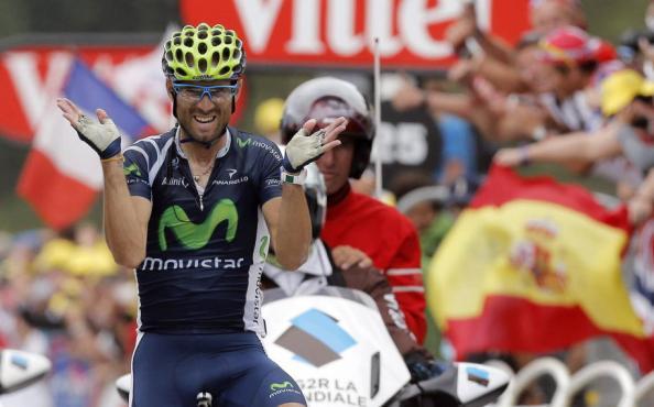 Imagen de rabia y felicidad de Valverde al llegar a meta (foto:hoy.com)