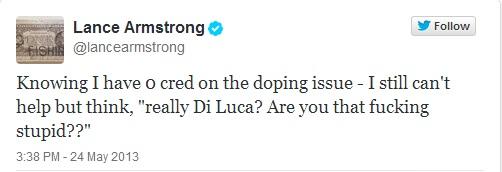 Lance Armstrong publicaba este tweet tras el positivo de Di Luca