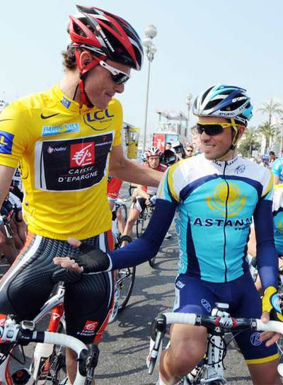 Luisle y Contador en la París-Niza que ganó el primero