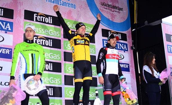 Podium de 2013 con Ciolek, Sagan y Cancellara