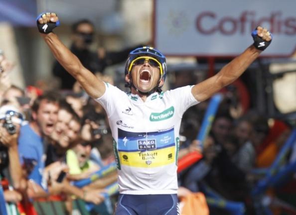 Contador en la meta de Fuente Dé (foto.globedia.com)
