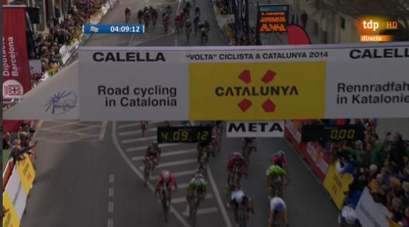 La imagen de los ciclistas en meta