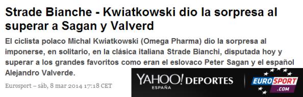 Así calificó Eurosport la victoria de Kwiato en la Strade Bianche.
