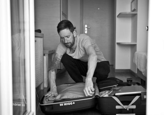 La maleta, también con el distitivo 'Wiggo'.